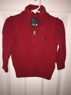 Polo By Ralph Lauren Red 1/4 Zip L/S Sweater Children's Size 2T