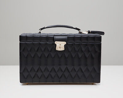 WOLF 329671 Caroline Black Quilted Large Jewelry Case Authorized Retailer