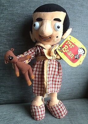 30cm MR BEAN AND TEDDY Famosa Quiron Dressing Gown Soft Plush Toy Doll 2003 RARE