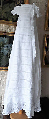 Antique Baby Christening Gown/embroidery/lace Trim