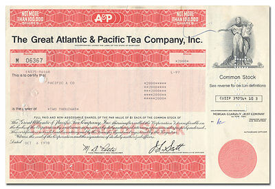 Great Atlantic & Pacific Tea Company, Inc. Stock Certificate
