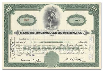 Revere Racing Association, Inc. Stock Certificate - Revere Beach, MA
