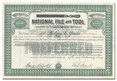 National File and Tool Company Stock Certificate (The Vixen)