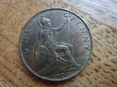 1902 Edward VII Penny Coin (ref1)