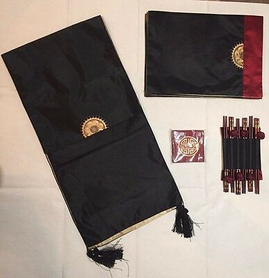 NEW 6 Red Black Gold Oriental Chinese Place Mats Coasters Runner & Chop Sticks