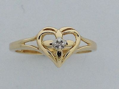 """Natural Diamond """"Heart Cross"""" Ring Solid 10kt Yellow Gold"""
