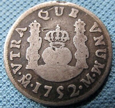 1752 Spanish Silver Colonial Mexico & America 1 Real Pillars Crown Shield (MJN)