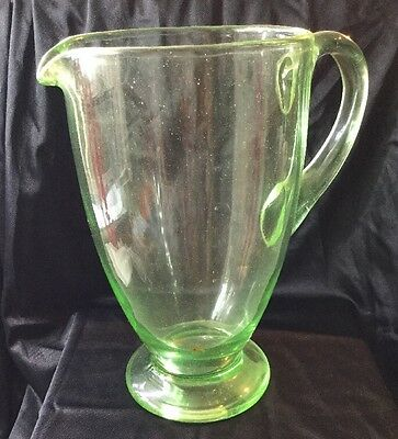 Antique Vintage retro old Green depression glass large Jug Home decor Bar
