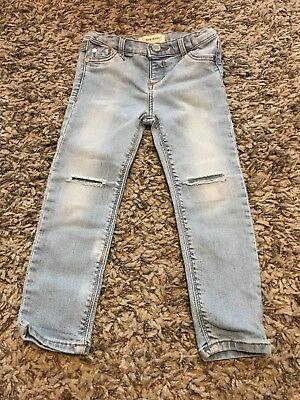 girls river island adjustable waist skinny ripped knee jeans  age 3 years