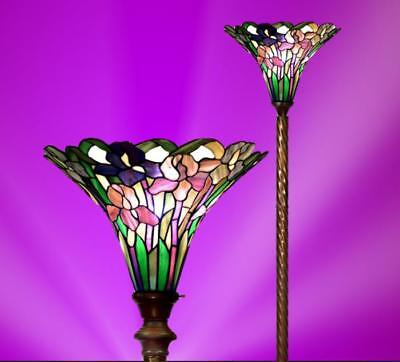 Torchiere Floor Lamp Tiffany Style Stained Glass Floral Rose Design