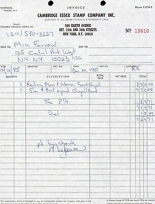 MIA FARROW Movie ACTRESS 1985 Large SIGNED New York RECEIPT for CHAGALL PRINTS