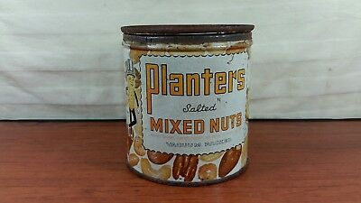 Vintage Planters Mr. Peanut Salted Mixed Nuts Tin Can