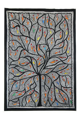 Exclusive Nesting Tree Madhubani Wall Hanging by Artist from Bihar