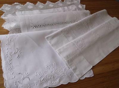 ~ Vintage  TABLE MATS~  White Embroidery...Cutwork & Crochet~