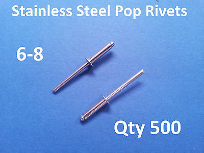 """500 POP RIVETS STAINLESS STEEL BLIND DOME 6-8 4.8mm x 17.2mm 3/16"""""""