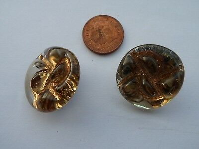 Fab Vintage Pair Of Art Glass Bimini Style Buttons