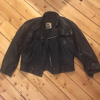 Vintage Leather Jacket Biker Punk Grunge Rocker Retro Zip Oversized Small