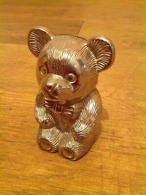 Vintage Silver Plate Teddy Bear Money Box Plated