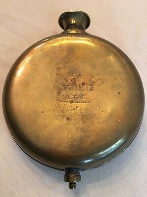 Antique The Gillette Brass Metal Therapeutic Bottle Canteen Medical Quackery