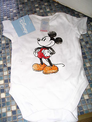 Disney Store Mickey Mouse White Babygrow Age up to 3 Months Brand New