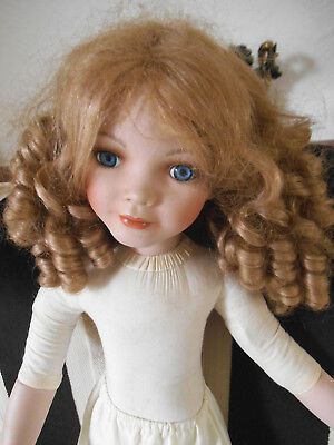 "Porcelain Doll 24"" Needs A Xmas Dress Pretty Long Ringlets & Blue Glass Eyes"