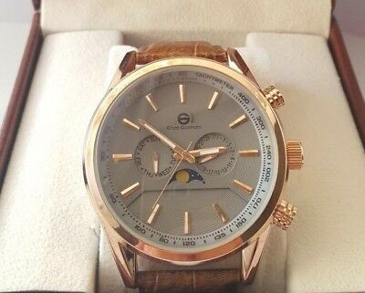LIMITED.ENZO GIOMANI Mens Brown LEATHER Rose Gold Date WATCH Tag Em Boss Box