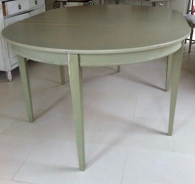 Scandinavian painted extending round/oval dining table/ pair half-moon consoles