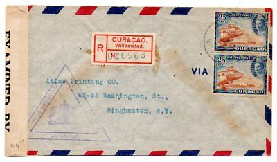 Curaçao: 1942 Reg, Airmail cover censored/resealed to New York from Willemstad