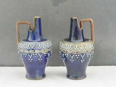 Royal Doulton Lambeth Pair Of Miniature Jugs Unusual Aesthetic Movement Shape