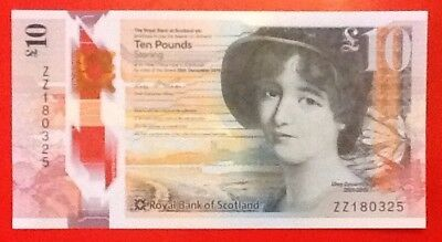 New Polymer £10 Note Royal Bank of Scotland Rare ZZ1 Replacement Uncirculated ZZ