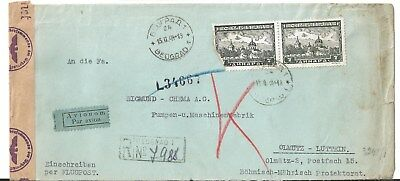 SERBIA Cover Beograd to Czechoslovakia Olmutz Air Mail Censur 15.2.1944