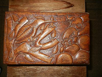 Indian rosewood hand Carved Antique Jewelry Box sculpture forest artwork花梨木盒艺术收藏