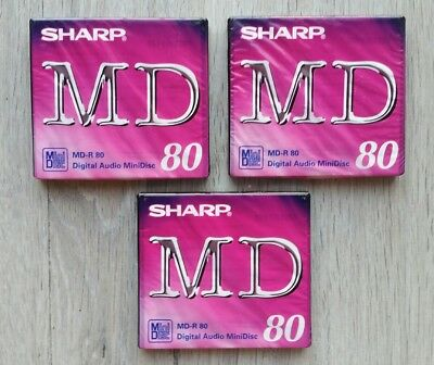 LOTE PACK x3 MINIDISC SHARP MD-R 80 MINUTES PURPLE • NEW AND SEALED