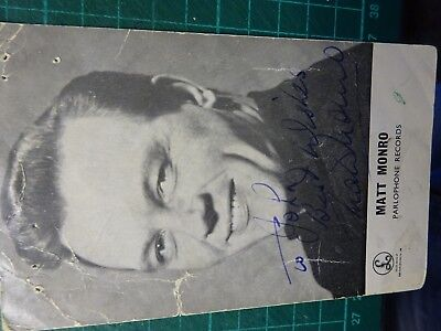 "AUTOGRAPH JAMES BOND 007 Matt Monro Hand Signed 6""x4"" B&W Photograph"