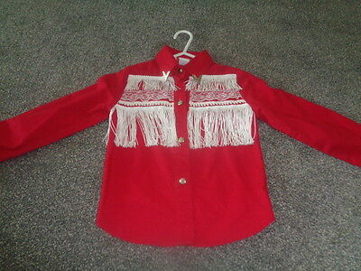 """Girls Vintage Red Cowboy Style Shirt From The Usa 26"""" Chest Approx 4/5"""