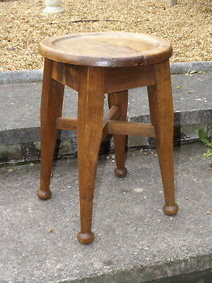 Vintage Early 20th Century Oak Pub Stool