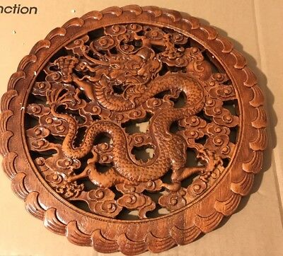 Chinese Wooden Carved Dragon Wall Plaque 28cm X1.5cm Deep