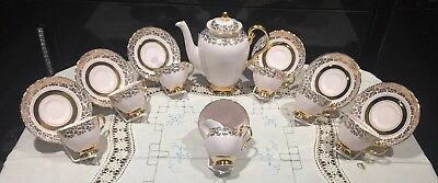 Tuscan Baby Pink Ashley Coffee / Teapot Cups And Saucers China Set Gold