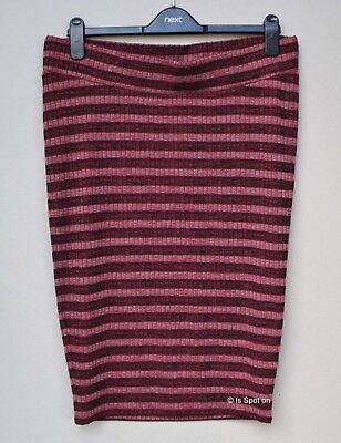 Next Berry Mix Striped Pull On Stretch Rib Maternity Pencil Skirt, Size 12, BNWT