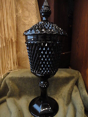 """INDIANA DIAMOND POINT TIARA Black Glass Covered Compote Candy 16"""" T Vintage"""