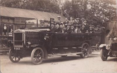 RP CHARABANC MOTORBUS VICTORIA SALFORD MANCHESTER REG B 5803 REAL PHOTO c1908