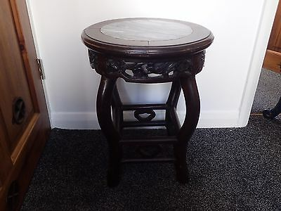 Heavy Chinese / Japanese  marble top carved side table / plant stand