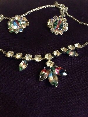 Vintage Rainbow Glass Clip Earrings And Necklace 1950!