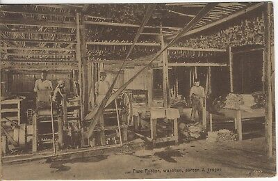 Sumatra Indonesia Industry Rubber Plant Washing And Pressing Old Photo Postcard