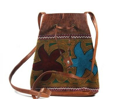 Ethnic Leather Embroidery Stylish Bagpack by Artisans from Rajasthan