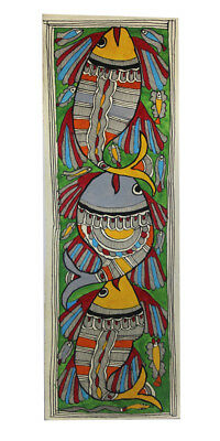 Authentic Fishes in a Stream Madhubani Wall Hanging by Artist from Bihar