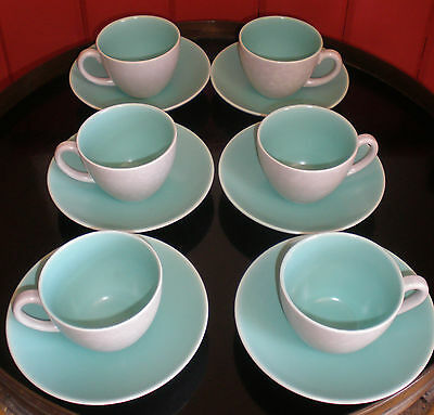 Poole Pottery Twintone Ice Green & Seagull Coffee Cups And Saucers X 6