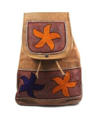 Smart Leather Embroidered Stylish Bagpack by Artisans from Rajasthan
