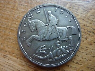 1935 Toned George V Rocking Horse Silver Crown Coin (ref081))