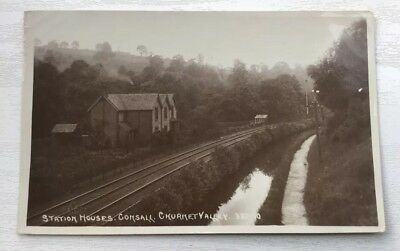 Station Houses Consall Churnet Valley Rp Postcard Staffordshire.posted.